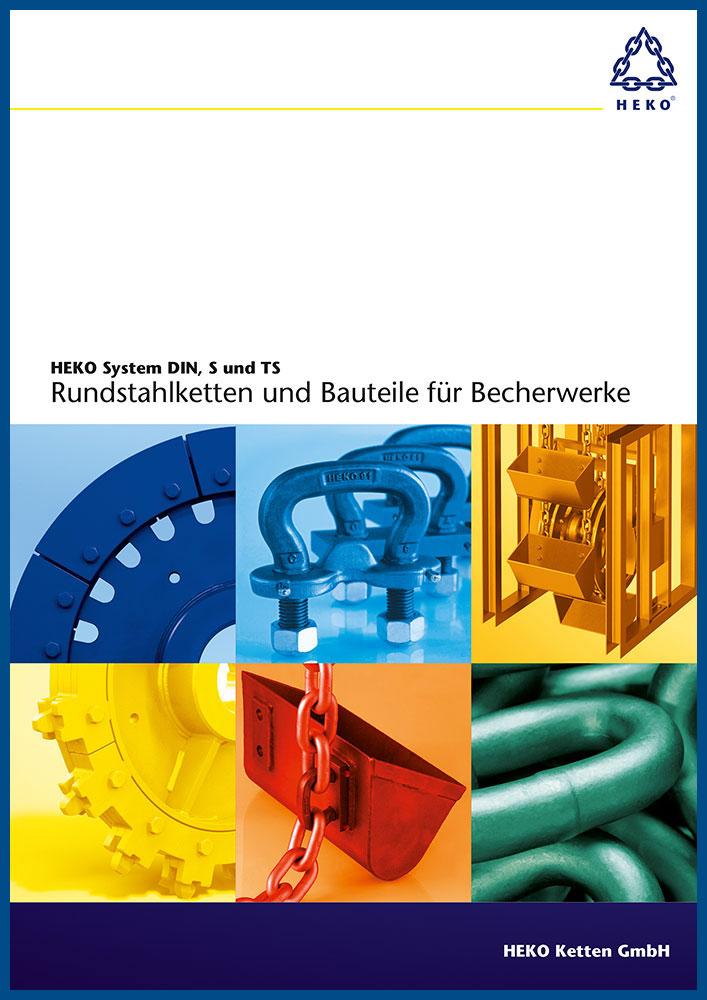 HEKO System DIN, S und TS, Rundstahlketten und Bauteile für Becherwerke, DE